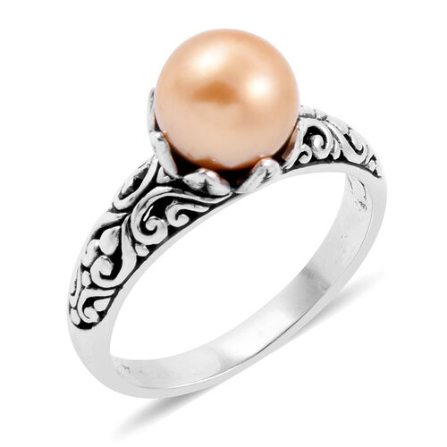 Royal Bali Collection - South Sea Golden Pearl (Rnd) Filigree Ring in Sterling Silver