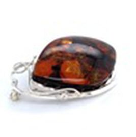 Natural Baltic Amber Brooch in Sterling Silver, Silver