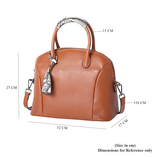 100% Genuine Leather Handbag with Detachable Shoulder Strap and Zipper Closure (Size 32x17x27 Cm) - Tan