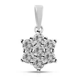 9K White Gold 1 Carat Diamond 7 Stone Floral Pendant, SGL Certified I3 G-H