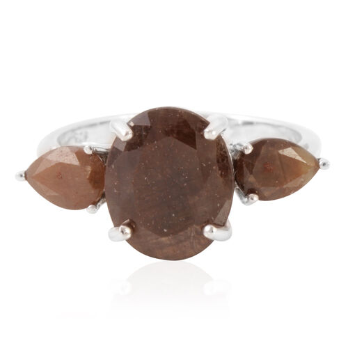 Chocolate Sapphire (Ovl 5.55 Ct) Ring in Rhodium Plated Sterling Silver 7.750 Ct.