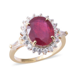 African Ruby (Ovl 7.10 Ct), Natural White Cambodian Zircon Halo Ring in Yellow Gold Overlay Sterling