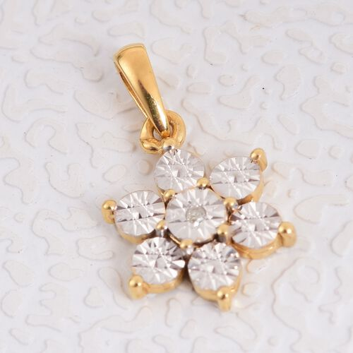 Diamond Floral Pendant in 14K Gold Overlay Sterling Silver