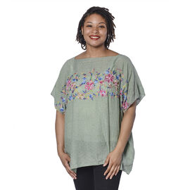 Super Soft Green Summer Top with Multi Colour Embroidery (UK Size - up to 20)