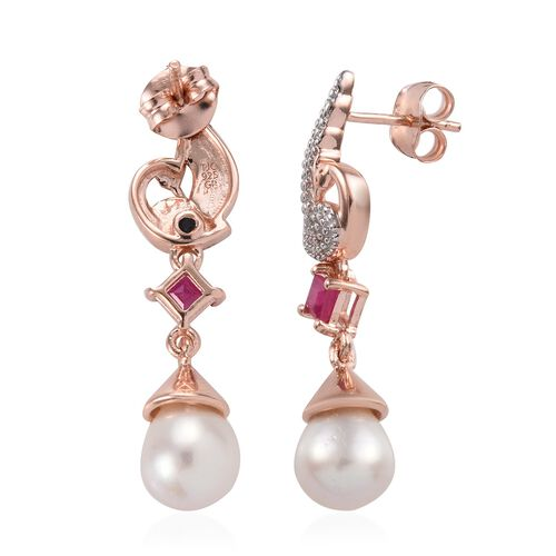 GP Freshwater Pearl,African Ruby and Blue Sapphire Peacock Earrings (with Push Back) in Rose Gold Overlay Sterling Silver