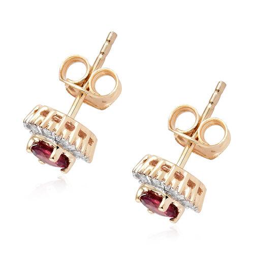 9K Yellow Gold AA Ouro Fino Rubelite (Rnd), Diamond Stud Earrings (with Push Back) 0.750 Ct.