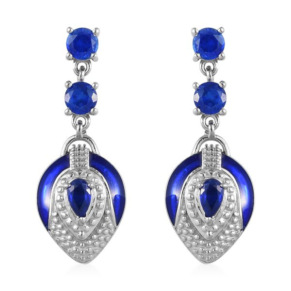 Tanzanian Blue Spinel Enamelled Dangle Earrings (with Push Back) in Platinum Overlay Sterling Silver