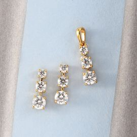 2 Piece Set - J Francis 14K Yellow Gold Overlay Sterling Silver Pendant and Earrings (with Push Back) Made with SWAROVSKI ZIRCONIA 3.08 Ct.