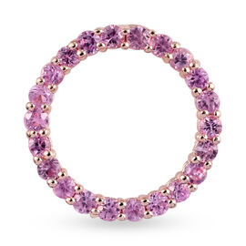 Pink Sapphire Circle Pendant in Rose Gold Overlay Sterling Silver 1.65 Ct.