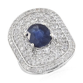 8.50 Ct Masoala Sapphire and Zircon Halo Ring in Platinum Plated Sterling Silver 7.47 Grams