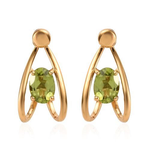 Chinese Peridot (1.65 Ct) 14K Gold Overlay Sterling Silver Earring  1.500  Ct.