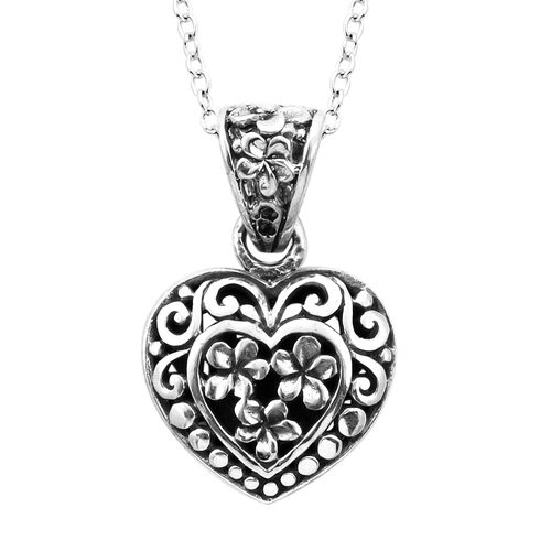 Royal Bali Filigree Heart Necklace in Sterling Silver 18 Inch