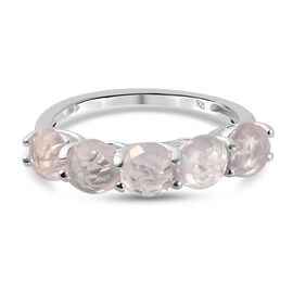 Rose Quartz 5 Stone Ring in Sterling Silver 2.430 Ct.