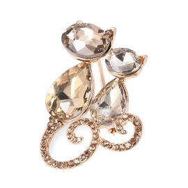 Simulated Champagne Diamond, Champagne Austrian Crystal Cat Couple Brooch in Gold Plated