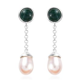 Green Aventurine (Rnd), Freshwater Pearl Earrings (with Push Back) in Sterling Silver 12.750 Ct.