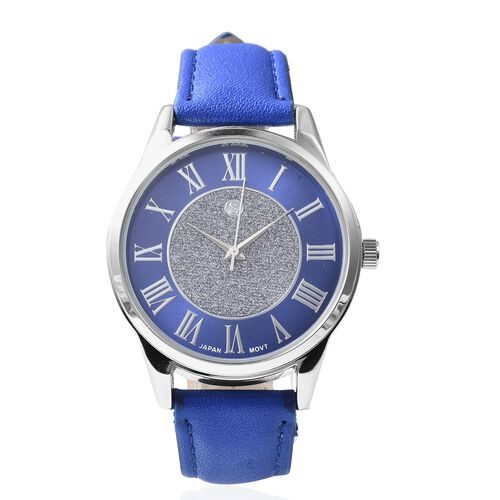 3 Piece Set - Simulated Blue Sapphire (Rnd) Pendant with Chain (Size 20), Stud Earrings (with Push Back) and STRADA Japanese Movement Water Resistant Watch with Blue Strap in Stainless Steel