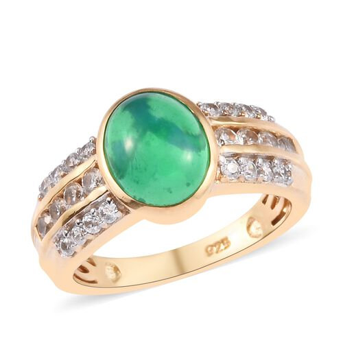 Green Ethiopian Opal and Cambodian Zircon Ring 14K Gold Overlay Sterling Silver 1.75 Ct.