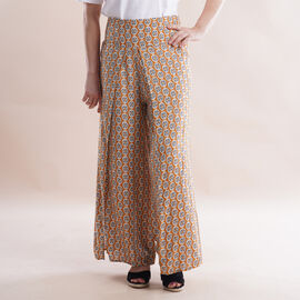 JOVIE Miss Colloection 100%Viscose Elastic Band Print Trousers Paisley and Rhombic Dot Pattern Yellow Print