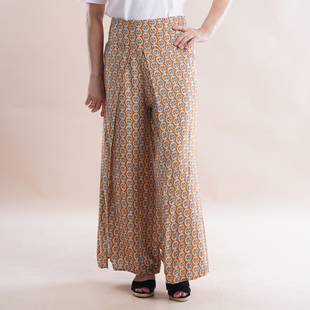 JOVIE Miss Colloection 100% Viscose Elastic Band Printed Trousers - Yellow