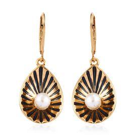 Freshwater Pearl (Rnd) Enamelled Shell Design Lever Back Earrings in 14K Gold Overlay Sterling Silve