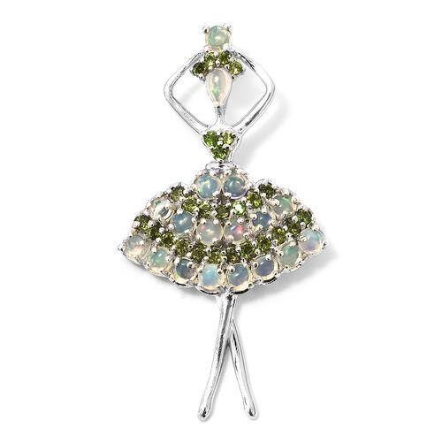 Designer Inspired-Ethiopian Welo Opal (Rnd), Russian Diopside Ballerina Pendant in Platinum Overlay