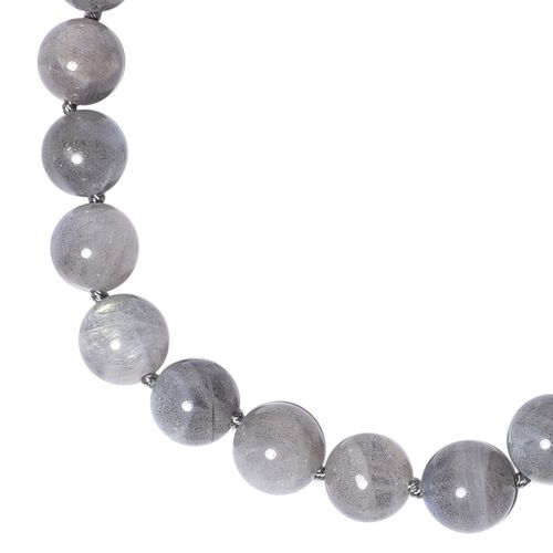 One Time Deal - AAA Natural Labradorite (Rnd) Beads Necklace (Size 20) with Magnetic Lock in Rhodium Overlay Sterling Silver 246.00 Ct.