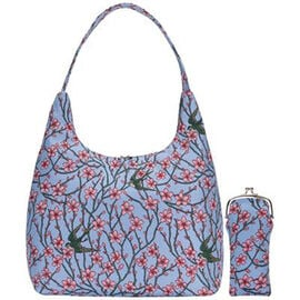 SIGNARE - Tapestry  Ladys Beach Hobo Bag with Matching Glasses Pouch in  Almond Blossom and Swallow,
