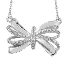 Designer Inspired- Diamond (Rnd) Bow Necklace (Size 18) in Platinum Overlay Sterling Silver