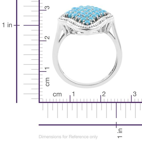 Arizona Sleeping Beauty Turquoise (Rnd) Cluster Ring in Platinum Overlay Sterling Silver 1.750 Ct. Silver wt. 5.50 Gms.