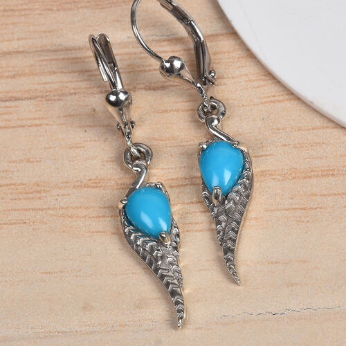 AA Arizona Sleeping Beauty Turquoise (Pear) Angel Wing Lever Back Earrings in Platinum Overlay Sterling Silver 1.00 Ct.