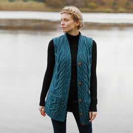 Aran Woollen Mills Merino Wool Ladies Sleeveless Cardigan in Teal Colour