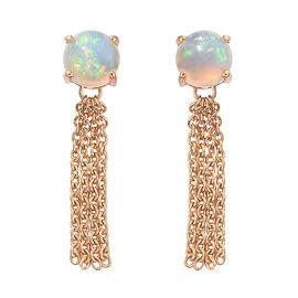 1.75 Ct Ethiopian Opal Drop Earrings in Gold Plated Sterling Silver