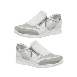 Lotus Stressless Leather Alicante Trainers in White and Silver Colour