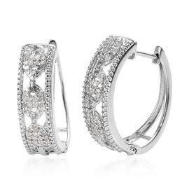 0.50 Ct Diamond Hoop Earrings in Platinum Plated Sterling Silver 5 Grams