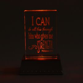 I Can Do All Things Through Christ Who Gives Me Strength -Philippians 4:13 Colour Changing LED Cryst