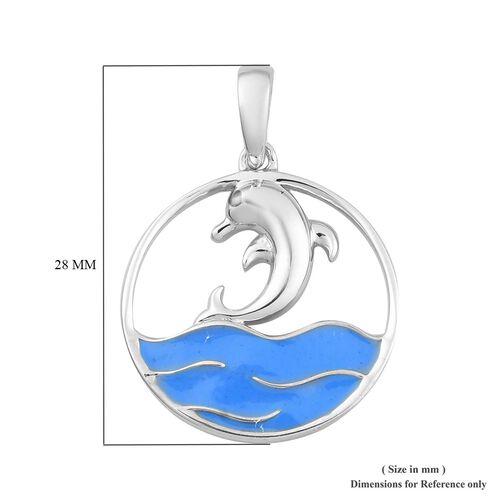 Platinum Overlay Sterling Silver Enamelled Dolphin Pendant