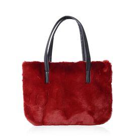 Super Soft Red Colour Faux Fur Large Tote Bag (Size 36x26 Cm)