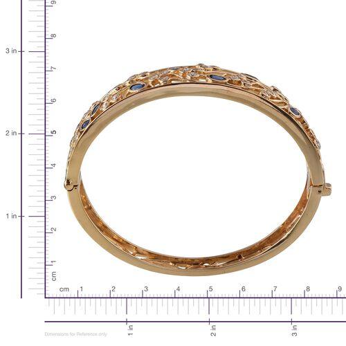 Kanchanaburi Blue Sapphire (Ovl), Simulated Diamond Bangle in 14K Gold Overlay Sterling Silver (Size 7.5) 5.500 Ct.