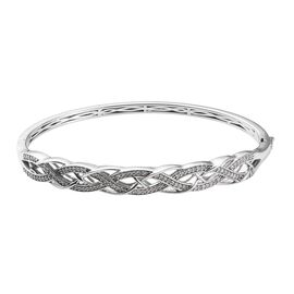 Diamond (Rnd) Bangle (Size 7.5) in Platinum Overlay Sterling Silver 0.50 Ct, Silver wt 16.32 Gms