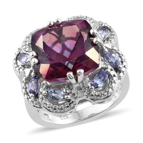 Lulaby Mystic Topaz (Cush 9.04 Ct),Tanzanite and Diamond Ring in Platinum Overlay Sterling Silver 9.