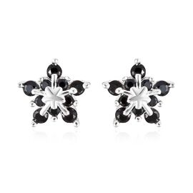 Boi Ploi Black Spinel (Rnd) Starburst Design Earrings (with Push Back) in Sterling Silver