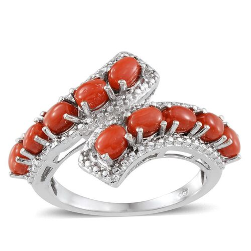 Mediterranean Coral (1.50 Ct) Platinum Overlay Sterling Silver Ring  1.500  Ct.