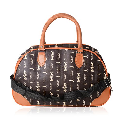 Romantic Eiffel Tower Large Weekend Handbag with Adjustable Shoulder Strap (Size 42x17.5x25 Cm)