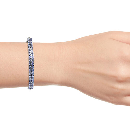 Tanzanite (Ovl), Diamond Double Layer Bracelet (Size 7.5) in Platinum Overlay Sterling Silver 12.51 Ct., Silver wt 18.00 Gms.