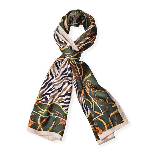 Designer Inspired - 100% Mulberry Silk Olive Green and Multi Colour Zebra Stripes Pattern Scarf (Siz