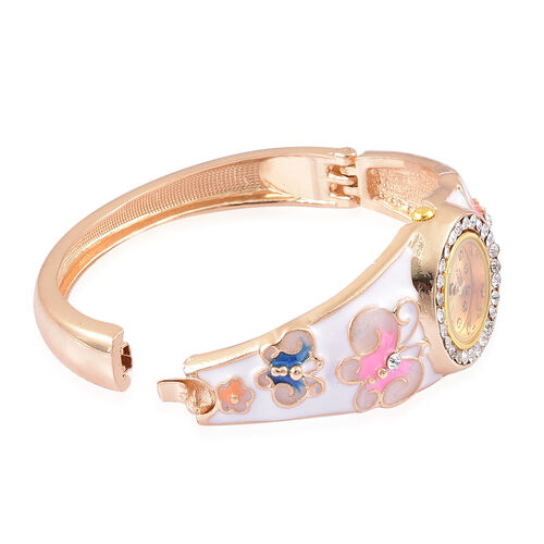 STRADA Japanese Sunshine Dial Butterfly Design White, Pink and Blue Enameled Bangle Watch in Yellow Gold Tone with White Austrian Crystal
