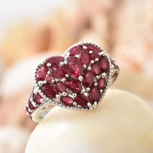 African Ruby Heart Ring in Platinum Overlay Sterling Silver 4.000 Ct. Silver wt 6.06 Gms.