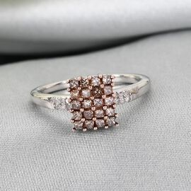 GP Natural Champagne Diamond, White Diamond and Kanchanaburi Blue Sapphire Ring in Platinum Overlay Sterling Silver 0.52 Ct.