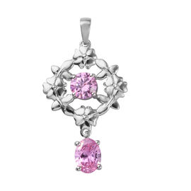 J Francis Platinum Overlay Sterling Silver Pendant Made with PINK SWAROVSKI ZIRCONIA 3.00 Ct.