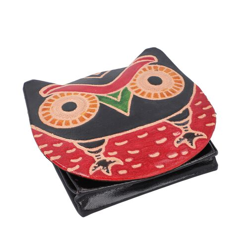 Set of 3 - 100% Genuine Leather Owl Theme Coin Pouch - Red, Mustard and Black